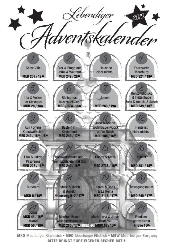 Foto der Daten zum Adventskalender 2019 in Moorburg